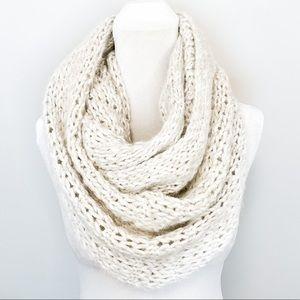 Hollister Cream Chunky Knit Wool Infinity Scarf